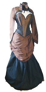 Gothic-Steampunk-Victorian-jaquard-copper-corset-bolero-outfit-with-bustle