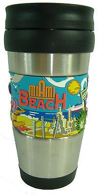 New Miami South Beach Souvenir Tumbler Travel Mug Thermos Coffee Cup 14oz