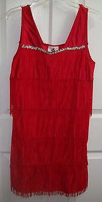 Womens Medium Red Fringe Costume Halloween Stretchy Dress Preowned Nice!