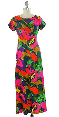 Vtg. 60s Sun Fashions of Hawaii Long Muumuu Luau Dress Mod Neon Colors Sz. 4