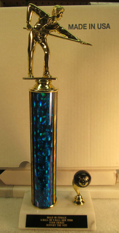 """Pool Billiards Trophy 8-Ball Tournament 15"""" FREE Engraving 2 Day Mail M or F"""