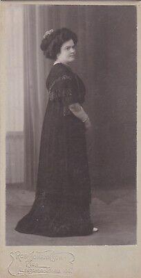 1900s CP Pretty young woman fashion Riga Johannson antique old Latvian photo