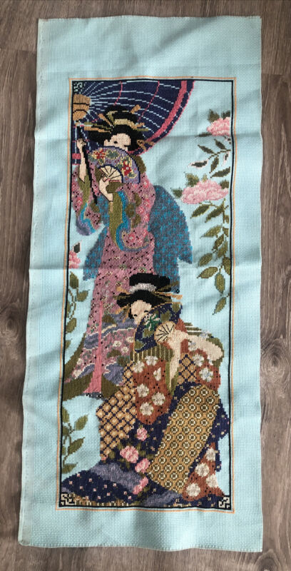 Vintage completed Asian Women Fans On Blue cross stitch needlework wall hanging