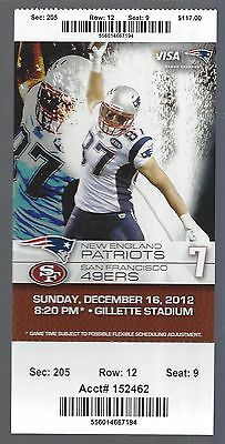 2012 Nfl San Francisco 49Ers   New England Patriots Full Unused Football Ticket