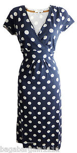 NEW EX BODEN SPOT POLKA DOT SUMMER VIINTAGE 50S WRAP STYLE TUNIC TEA DRESS RETRO