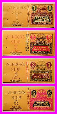 OHIO PREPAID SALES TAX RECEIPT, FOUR-STAMP GRAB BAG! 1, 2, 3 & 6¢. PRIOR TO 1962