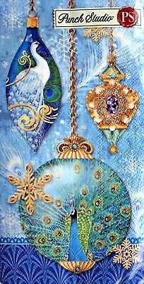 *PUNCH STUDIO Set of 16 Guest Hostess Towels Paper Napkins ~ Peacock Ornaments