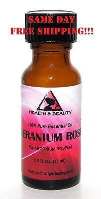 GERANIUM ROSE ESSENTIAL OIL AROMATHERAPY 100% PURE NATURAL GLASS 0,5 OZ 15ML