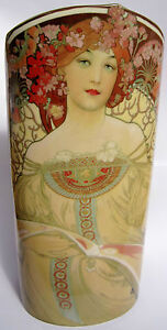 New boxed MUCHA ART NOUVEAU silhouette d'art vase Parastone for John Beswick