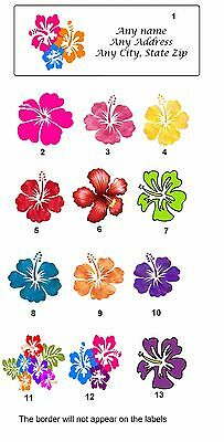 Personalized Return Address Labels Hawaii Flowers Buy 3 get 1 free (hi1)