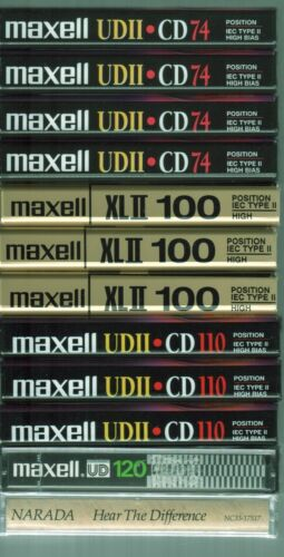 12 NEW Sealed Cassettes: BLANK Maxell UD 1x120+3x110+3x100+4x74+1 Narada Sampler