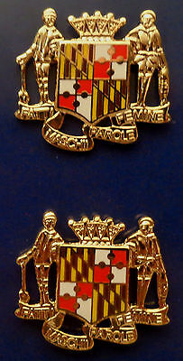 2  Maryland State Crest  Gold COLLAR/LAPEL PINS Police/Fire/EMS/Sheriff MD