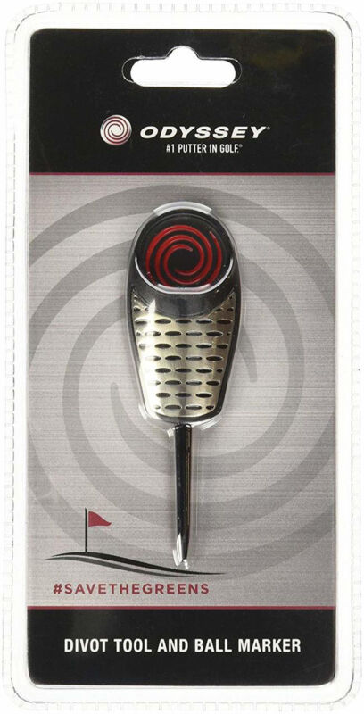 NEW Odyssey Single Prong Black/Silver/Red Divot Tool w/Ball Marker