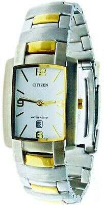 New Citizen Rectangular Two Tone Facet Cut Glass White Face WR Watch With (Rectangular Face Glasses)