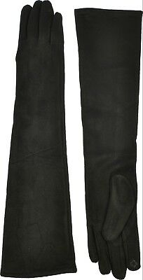Solid Faux Suede - Women's Long Faux Suede Gloves Solid Teach Warmth Stylish Black