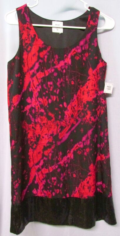 MAC + JAC, Black and Red, Combo Cocktail Dress, Sequin Detail Hem, NWT, Medium