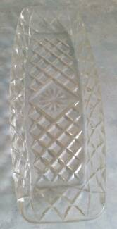 Lovely vintage diamond cut glass oblong tray