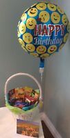 Candy and Chocolate Baskets Plus Balloon Card And Delivery