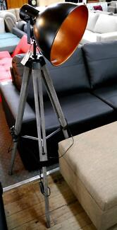 New Industrial Vintage Timber Tripod Black Factory Floor Lamps