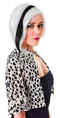 Weiß Perücke mit Schwarz Strähnen Erwachsene Damen Halloween - Cruella Kostüm Perücke