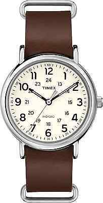Timex T2P495, Men's Weekender Brown Leather Watch, Indiglo
