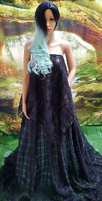 CIERRA 2 Pc Strapless Black Organza Plaid & Tiffany Blue Wedding Ballgown Set