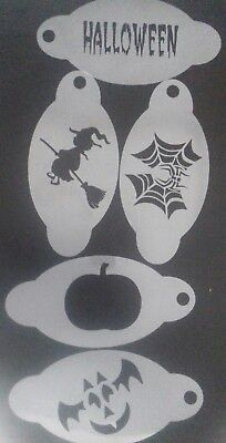 5 x Halloween face painting stencils reusable   spiderweb  witch  pumpkin  bat ](Halloween Face Painting Spider Web)