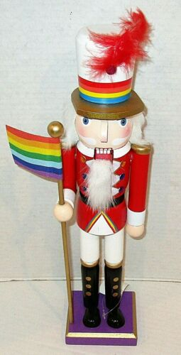 """CHRISTMAS WOODEN NUTCRACKER 15"""" SOLDIER W/ GAY PRIDE COLORS AND FLAG"""