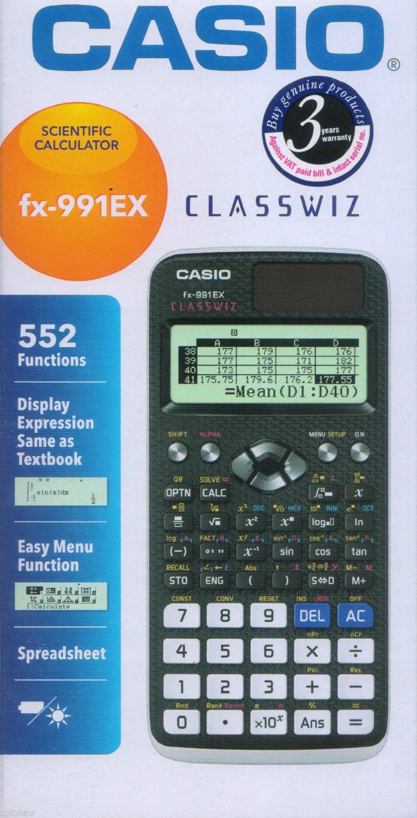 Casio FX-991EX Calsswiz Scientific Calculator (Black) Free Shipping