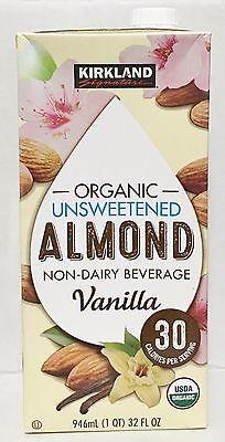 32oz Kirkland Organic Unsweetened Almond Non Dairy Beverage, Milk Vanilla Almond Non Dairy Beverage