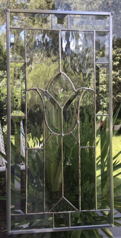 Stained Glass Window Panel, Clear And Bevels Glass Hanging Handmade