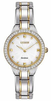 (Citizen Eco-Drive Women's EX1364-59A Crystal Bezel Two Tone Bracelet 28mm Watch)