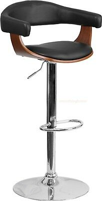 Adjustable Bar Counter Stool Walnut Tone Black Curved Back Padded Cushion Modern