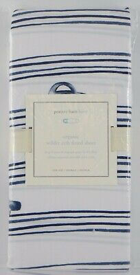 Pottery Barn Kids ~ Wilder Cars Crib Fitted Sheet ~ Navy Stripes Toddler NWT