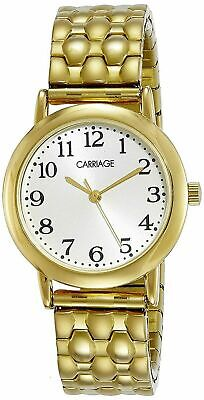 Timex Carriage C3C745, Women's Goldtone Expansion Band Watch, Silver Dial