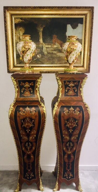 """Antique Louis XV Style French Pedestals Ormolu Marble Top Floral Marquetry 52"""""""