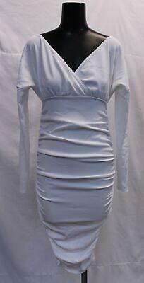 Boohoo Women's Plus Plunge Wrap Midi Dress LP7 Cream Size US:18 UK:22 NWT