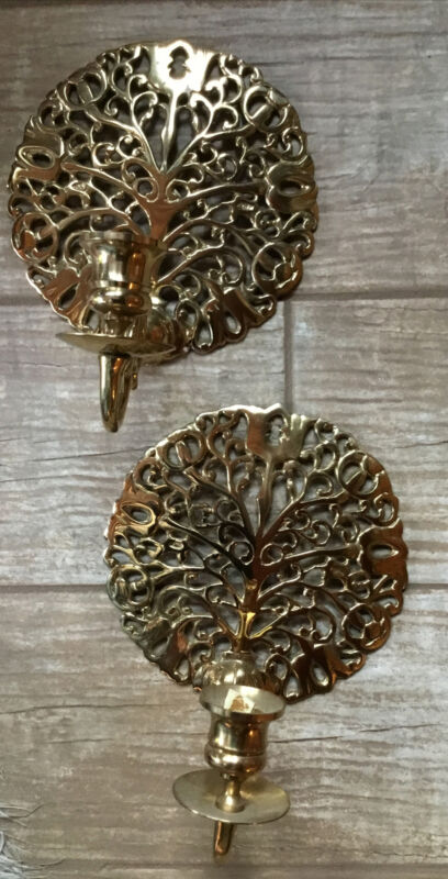 Pair Vintage Brass Tree of Life Wall Sconces Candle Holders
