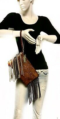 Raviani Wristlet Bag W/ Fringe In Honey Color Western Floral Leather MADE IN USA ()