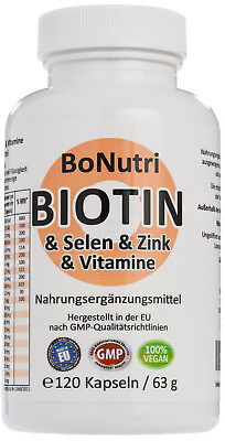 Biotin B7 & Selen & Zink & Vitamine 120 Kapseln 2-Monatsbedarf Haare Haut