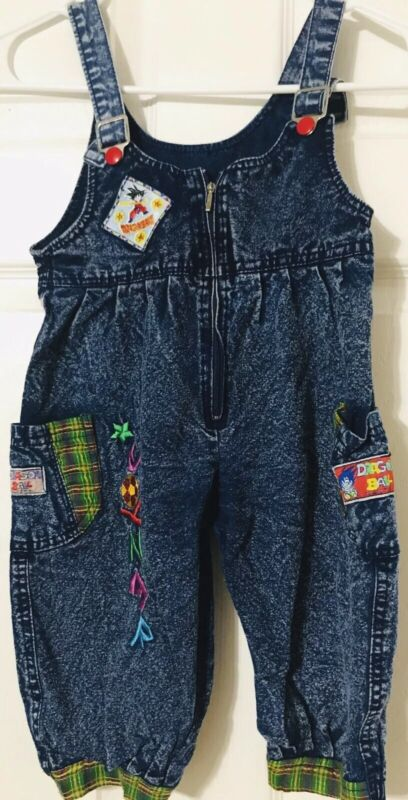 Dragon Ball Z Unisex Overalls Size 6 Jeans  Denim Snap Buttons Rare HTF!