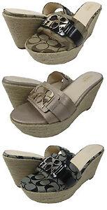 Coach-Womens-Carlana-Brown-or-Black-Espadrille-Fashion-Platform-Wedge-Heels
