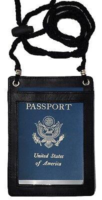 Leather RFID Blocking Travel Passport Wallet Holder Neck Pouch Safe Phone Bag