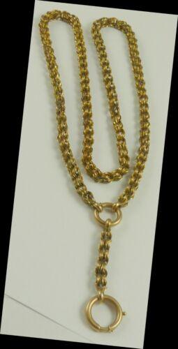 "Bookchain Link Vintage 1930 Necklace Chain 18"" + 2"" Drop 14K Gold 2 Clasps"