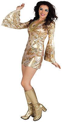 Gr. 36-42 Disco gold Schlagermove Kleid Party Karneval Kostüm Damenkostüm 87378