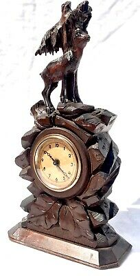 Antique Carved Ibex Black Forest Bracket / Mantel Clock