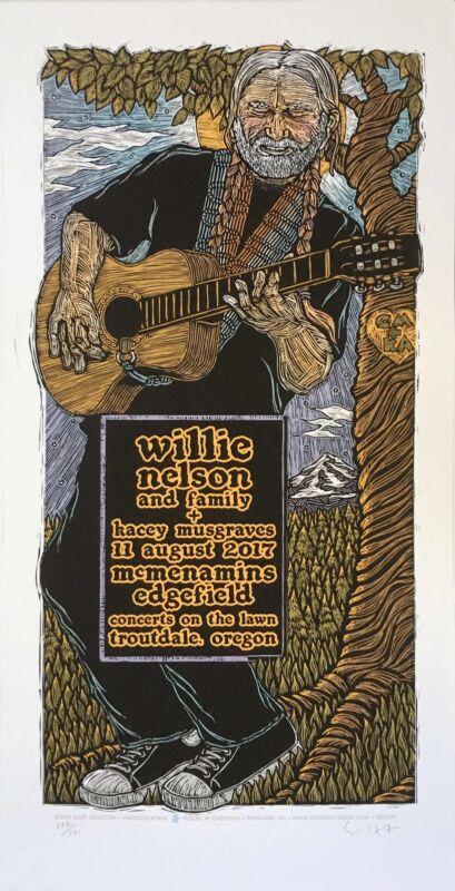 Willie Nelson Poster Kacey Musgraves Original S/N Silkscreen Signed Gary Houston