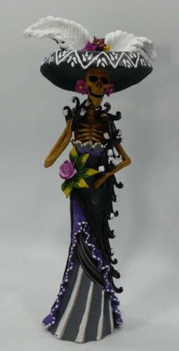 "FINE ART CATRINA mexican day of the dead folk art handmade clay figure 12"""