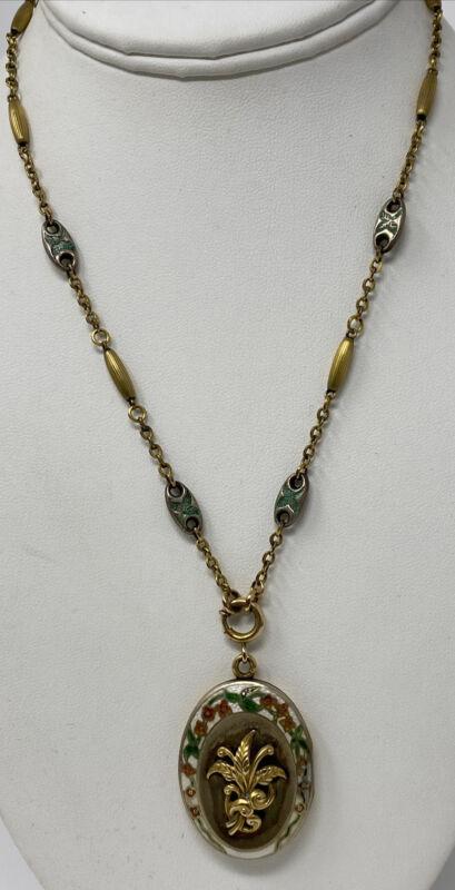 Victorian Gold Filled Flower Enamel Raised Design Austin Stone  Locket Necklace