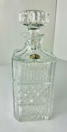 Atlantis Crystal Whiskey Decanter Hand Blown and Cut for Block Crisal Portugal
